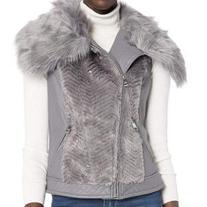 Guess Sleeveless Posh Faux-Fur Vest XS/S Grey